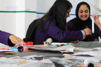 Whalley Range students making posters